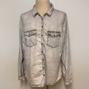 grey ombré distressed button down shirt